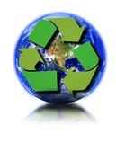 Earth and recycle symbol. Earth globe and recycle symbol against white background, small reflection in front Stock Photos