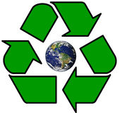 Earth in Recycle symbol. Earth inside Green Recycle symbol Stock Photos