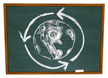 Earth and Recycle Symbol on Chalkboard. A drawing of the Earth surrounded by a recycling circle on a chalkboard Royalty Free Stock Photography