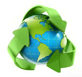 Earth in recycle symbol. Isolated on white background Stock Image