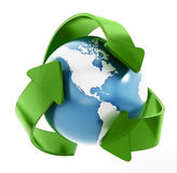 Earth in recycle symbol. Isolated on white background Royalty Free Stock Images