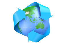 Earth and recycle symbol. Isolated on  white background Royalty Free Stock Image