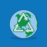 Earth Recycle. Recycle symbol over the planet earth Stock Image