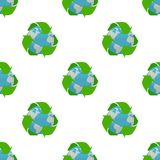 Earth with Recycle Symbol Seamless Pattern Stock Image