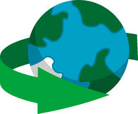 Earth recycling icon. Illustration of an Earth recycling icon isolated Stock Photography
