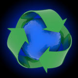 Earth with recycling symbol Stock Photos