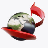 Earth_red_arrows. Planet Earth is cincture a red arrow Royalty Free Stock Image