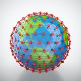 Earth in red cage. 3D render of earth trapped in red cage Royalty Free Stock Image