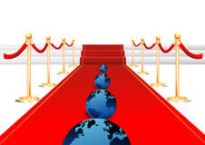 Earth in red carpet. Entrance  illustration Stock Image