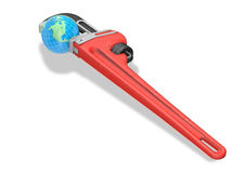 Earth and red wrench stock illustration