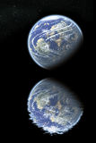Earth reflected on water. Planet earth reflected on water vector illustration