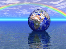 Earth reflections. Earth in a beautiful setting which was fully created in a computer generating program Stock Images