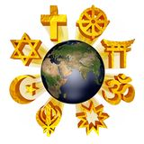 Earth_religious_symbols royalty free illustration
