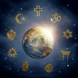 Earth and religious symbols Royalty Free Stock Photo