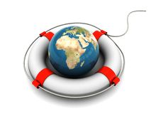 Earth rescue. 3d illustration of earth globe in rescue circle Stock Photography