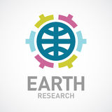 Earth research or care logo template. Flat colors. Stock Images