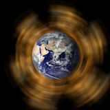 Earth with rings stock photos