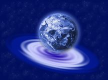 Earth on the ripple. The earth planet on a blue water ripple Royalty Free Stock Photography
