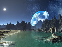 Earth-rise from Alien Shores Royalty Free Stock Photos