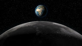 Earth rising over Moon horizon Royalty Free Stock Photos