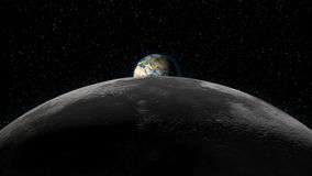 Earth rising over Moon horizon Stock Photo