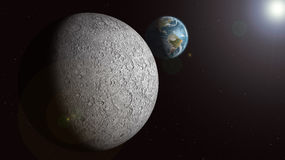 The Earth rising over the sunlit moon Royalty Free Stock Photos