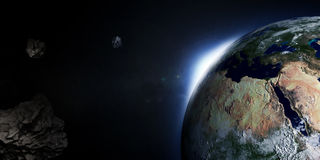 Earth with Rising Sun and Asteroids Royalty Free Stock Photography