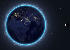 Earth with the rising sun. Elements of this image Royalty Free Stock Image