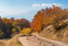 Earth road in autumnal mountains. Mountain pasture Demerdzhi, Crimean peninsula royalty free stock image