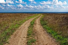 Earth road in the middle of summer camp Royalty Free Stock Images