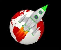 Earth rocket takeoff planet. 3D royalty free illustration