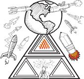 Earth and rockets doodles Royalty Free Stock Photography