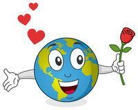 Earth with Rose Character. A funny cartoon happy earth character with a rose in his hand. Eps file available Stock Photography