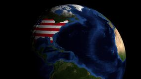 Earth rotates to reveal USA flag on surface 3D animation stock illustration