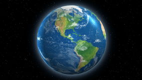 Earth Rotating View From Space Stock Images
