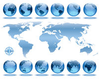 Earth rotation. Set of 12 globes showing earth rotation in every two hours period Royalty Free Stock Images