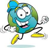 Earth running. Cartoon illustration of the earth running royalty free illustration