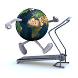 Earth on a running machine Stock Image