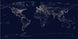 Earth's city lights political map Royalty Free Stock Images