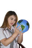 Earth's climate change. Picture of a student concerned about earth's climate change Stock Images