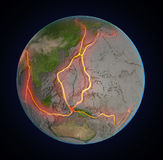 Earth's fault lines between tectonic plates Stock Photos