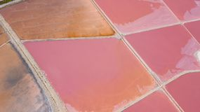 Earth`s line. A drone vertical perspective of the ground`s colors and shapes. Salt flats at Colonia de Sant Jordi, Mallorca. Earth`s line. A drone vertical Stock Photo