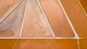 Earth`s line. A drone vertical perspective of the ground`s colors and shapes. Salt flats at Colonia de Sant Jordi, Mallorca, Spain. Earth`s line. A drone Royalty Free Stock Photo