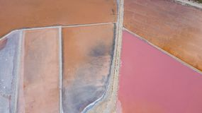 Earth`s line. A drone vertical perspective of the ground`s colors and shapes. Salt flats at Colonia de Sant Jordi, Mallorca. Earth`s line. A drone vertical Royalty Free Stock Photography