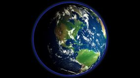 Animation of the Earth`s rotation in outer space royalty free illustration