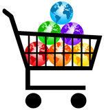 Earth for sale. In a supermarket trolley (concept for environmental care Royalty Free Stock Images