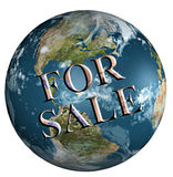 Earth for sale. Rendered 3d model of Earth with for sale stamp royalty free illustration