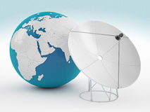 Earth and satelite. 3d high quality render Royalty Free Stock Photos