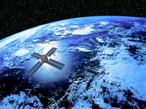 Earth with Satellite. In high Orbit with star scape background Royalty Free Stock Photography