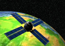 Earth with Satellite. 3D Earth with Satellite in Orbit Royalty Free Stock Photo